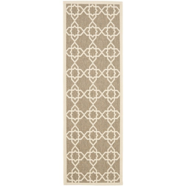 Safavieh Courtyard Geometric Trellis Brown/ Beige Indoor/ Outdoor Rug (2'4 x 6'7)