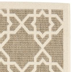 Safavieh Courtyard Geometric Trellis Brown/ Beige Indoor/ Outdoor Rug (2'4 x 6'7) - Thumbnail 1