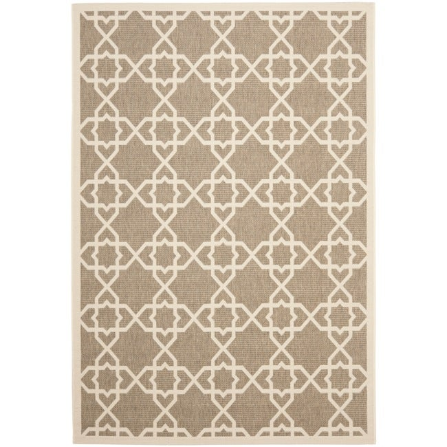 Safavieh Courtyard Geometric Trellis Brown/ Beige Indoor/ Outdoor Rug - 4' x 5'7