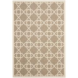 Safavieh Courtyard Geometric Trellis Brown/ Beige Indoor/ Outdoor Rug - 4' x 5'7 - Thumbnail 0