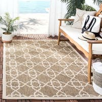 Safavieh Courtyard Geometric Trellis Brown/ Beige Indoor/ Outdoor Rug - 5'3 x 7'7
