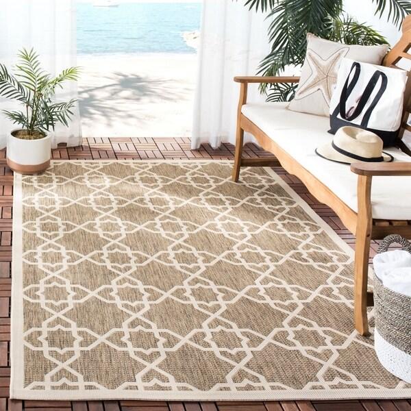 """Safavieh Courtyard Geometric Trellis Brown/ Beige Indoor/ Outdoor Rug - 5'3"""" x 7'7"""""""