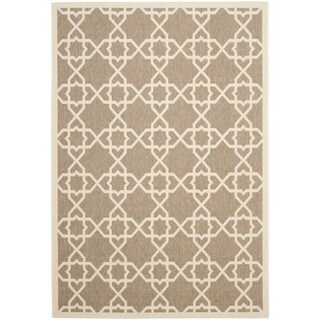 Safavieh Courtyard Geometric Trellis Brown/ Beige Indoor/ Outdoor Rug (9' x 12')