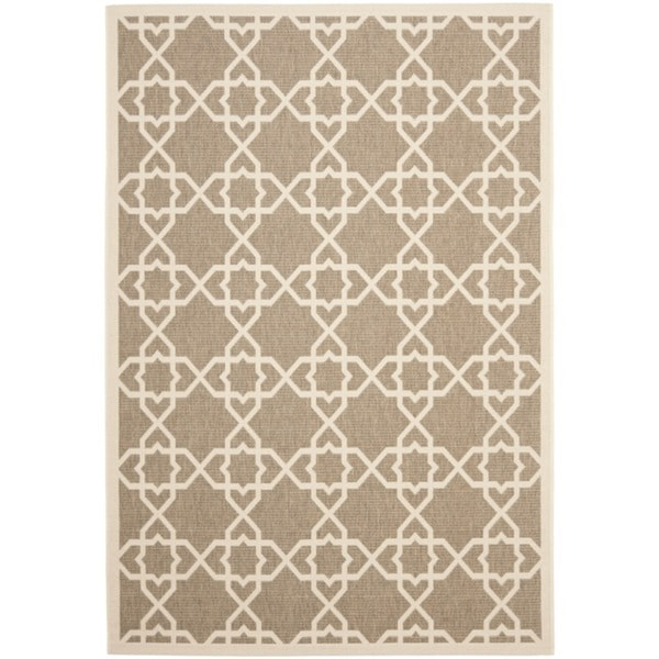Safavieh Courtyard Geometric Trellis Brown/ Beige Indoor/ Outdoor Rug - 9' x 12'