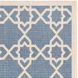 Safavieh Courtyard Geometric Trellis Blue/ Beige Indoor/ Outdoor Rug (2'4 x 9'11) - Thumbnail 1