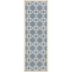 Safavieh Courtyard Geometric Trellis Blue/ Beige Indoor/ Outdoor Rug (2'4 x 9'11)