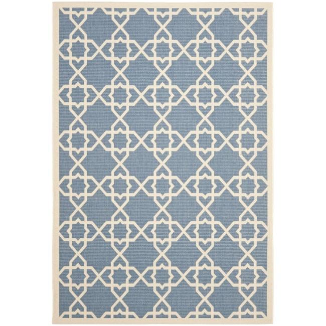 """Safavieh Courtyard Geometric Trellis Blue/ Beige Indoor/ Outdoor Rug (5'3"""" x 7'7"""")"""