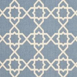 "Safavieh Courtyard Geometric Trellis Blue/ Beige Indoor/ Outdoor Rug (5'3"" x 7'7"") - Thumbnail 2"