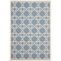 Safavieh Courtyard Geometric Trellis Blue/ Beige Indoor/ Outdoor Rug - 5'3 x 7'7