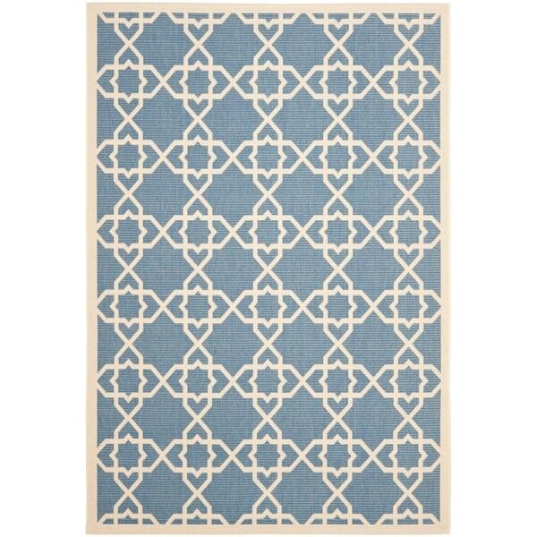 """Safavieh Courtyard Geometric Trellis Blue/ Beige Indoor/ Outdoor Rug - 5'3"""" x 7'7"""""""