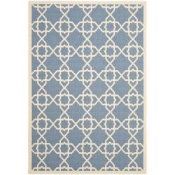 """Safavieh Courtyard Geometric Trellis Blue/ Beige Indoor/ Outdoor Rug (8' x 11'2"""")"""