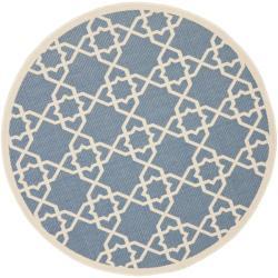 "Safavieh Courtyard Geometric Trellis Blue/ Beige Indoor/ Outdoor Rug (6'7"" Round)"