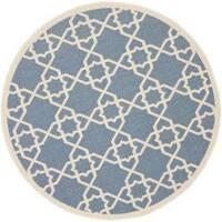 "Safavieh Courtyard Geometric Trellis Blue/ Beige Indoor/ Outdoor Rug - 6'7"" x 6'7"" round"