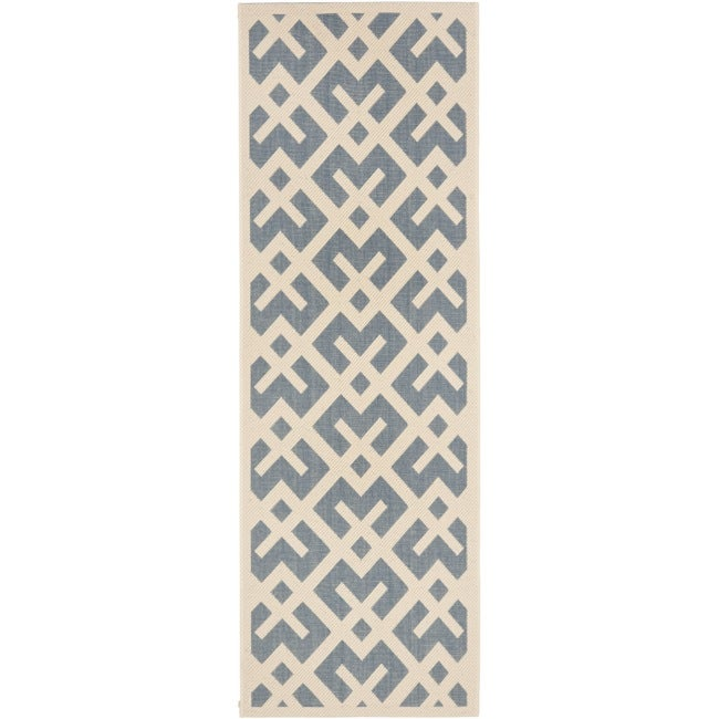 Safavieh Courtyard Contemporary Blue/ Bone Indoor/ Outdoor Rug (2'4 x 9'11)