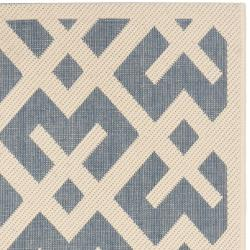 Safavieh Courtyard Contemporary Blue/ Bone Indoor/ Outdoor Rug (2'4 x 9'11) - Thumbnail 1
