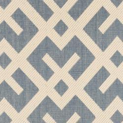 Safavieh Courtyard Contemporary Blue/ Bone Indoor/ Outdoor Rug (2'4 x 9'11) - Thumbnail 2