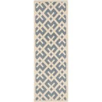 Safavieh Courtyard Contemporary Blue/ Bone Indoor/ Outdoor Rug (2'4 x 9'11) - 2'4 x 9'11