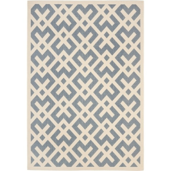Safavieh Courtyard Contemporary Blue/ Bone Indoor/ Outdoor Rug - 2'7 x 5'