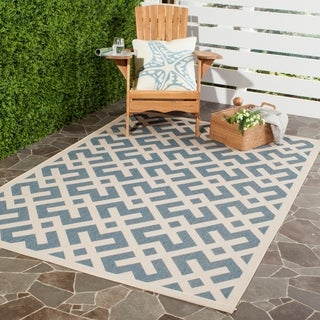Safavieh Courtyard Contemporary Blue/ Bone Indoor/ Outdoor Rug (8' x 11'2)