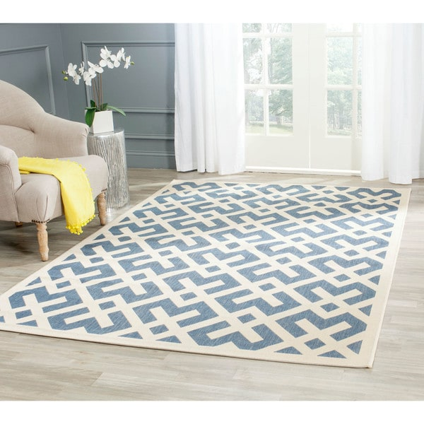Safavieh Courtyard Contemporary Blue/ Bone Indoor/ Outdoor Rug - 8' x 11'2