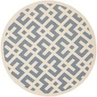 """Safavieh Courtyard Contemporary Blue/ Bone Indoor/ Outdoor Rug - 6'7"""" x 6'7"""" round"""