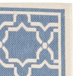 Safavieh Courtyard Poolside Blue/ Beige Indoor/ Outdoor Rug (2'4 x 9'11) - Thumbnail 1