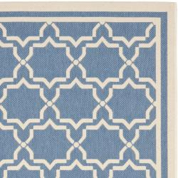 Safavieh Courtyard Poolside Blue/ Beige Indoor/ Outdoor Rug (9' x 12') - Thumbnail 1
