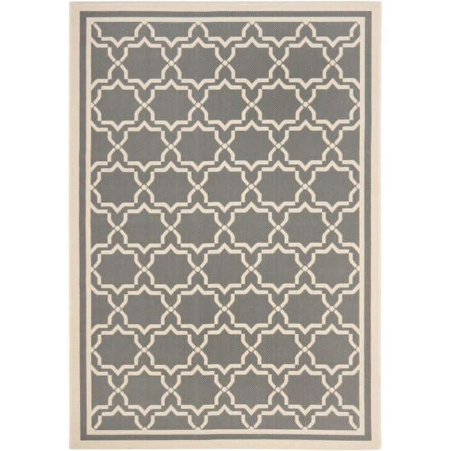 "Safavieh Courtyard Poolside Dark Grey/ Beige Indoor/ Outdoor Rug (5'3"" x 7'7"")"
