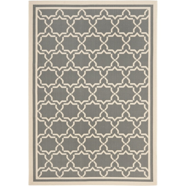 Safavieh Courtyard Poolside Dark Grey/ Beige Indoor/ Outdoor Rug - 8' x 11'2'