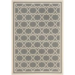 "Safavieh Courtyard Poolside Dark Grey/ Beige Indoor/ Outdoor Rug (8' x 11' 2"")"