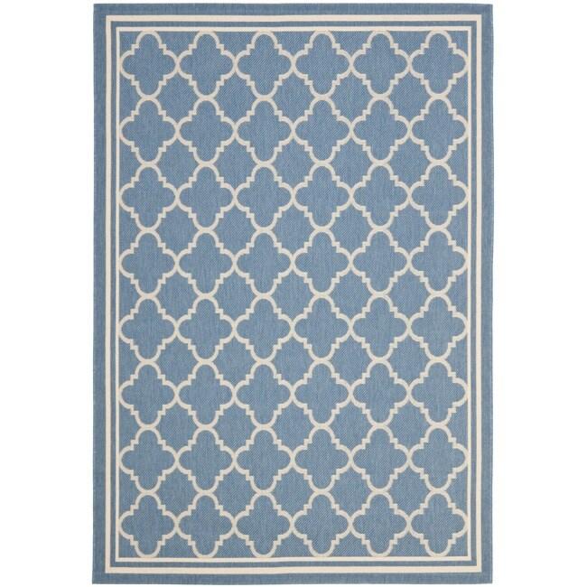 """Safavieh Blue Beige Indoor Outdoor Geometric Rug 2 7"""" x 5"""
