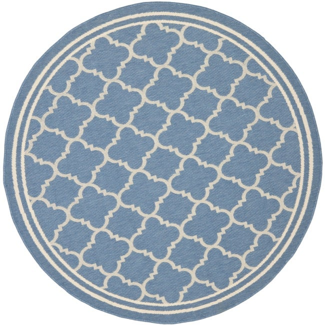 Safavieh Contemporary Blue Beige Indoor Outdoor Rug 5 3