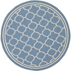 Safavieh Contemporary Blue/Beige Indoor/Outdoor Rug (5'3 Round)