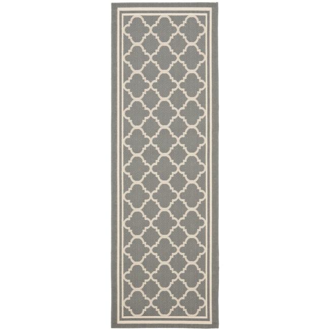 Safavieh Dark Grey/ Beige Indoor Outdoor Rug (2'4 X 9'11