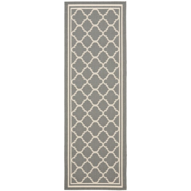 Safavieh Dark Grey/ Beige Indoor Outdoor Geometric Rug (2\' 4\