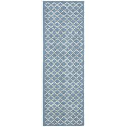 "Safavieh Blue/Beige Indoor-Outdoor Diamond-Print Rug (2'4"" x 6'7"")"