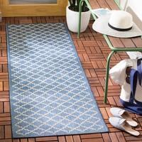"""Safavieh Blue/Beige Indoor-Outdoor Diamond-Print Rug - 2'3"""" x 6'7"""""""