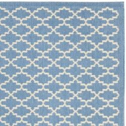 "Safavieh Blue/Beige Indoor/Outdoor Geometric Rug (5'3"" x 7'7"") - Thumbnail 1"