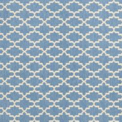 "Safavieh Blue/Beige Indoor/Outdoor Geometric Rug (5'3"" x 7'7"") - Thumbnail 2"
