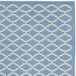 "Safavieh Blue/ Beige Geometric Element-Resistant Indoor/ Outdoor Rug (6'7"" x 9'6"") - Thumbnail 1"