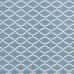 "Safavieh Blue/ Beige Geometric Element-Resistant Indoor/ Outdoor Rug (6'7"" x 9'6"") - Thumbnail 2"