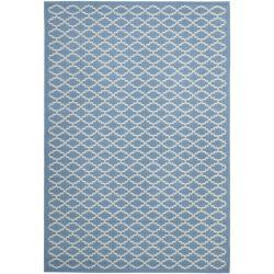 "Safavieh Blue/ Beige Geometric Element-Resistant Indoor/ Outdoor Rug (6'7"" x 9'6"") - 6'7 x 9'6 - Thumbnail 0"