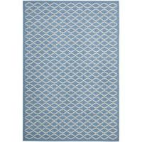 "Safavieh Blue/ Beige Geometric Element-Resistant Indoor/ Outdoor Rug (6'7"" x 9'6"") - 6'7 x 9'6"