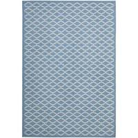 Safavieh Blue/ Beige Geometric Element-Resistant Indoor/ Outdoor Rug - 6'7' x 9'6'