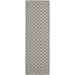 Safavieh Dark Grey/ Beige Indoor Outdoor Rug (2'4 x 9'11)