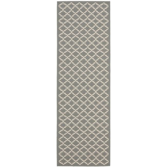 Safavieh Dark Grey/ Beige Indoor Outdoor Rug (2'4 x 6'7)