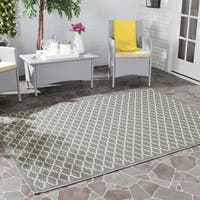 Safavieh Dark Grey/ Beige Indoor Outdoor Geometric Rug - 8' x 11'2