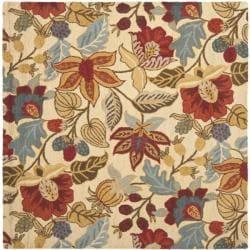 Safavieh Handmade Jardine Foliage Beige Wool Rug (6' x 6')