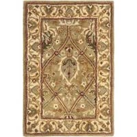 Safavieh Handmade Mahal Green/ Beige New Zealand Wool Rug - 2' x 3'