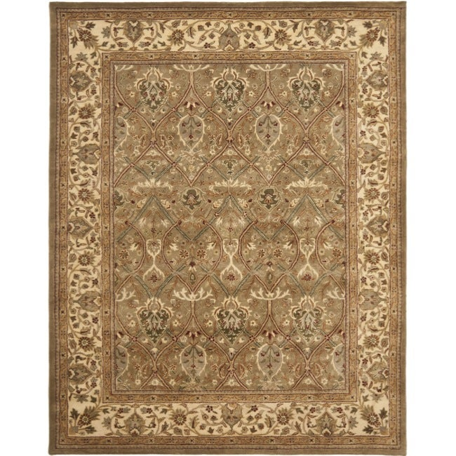 Safavieh Handmade Mahal Green/ Beige New Zealand Wool Rug (7'6 x 9'6)